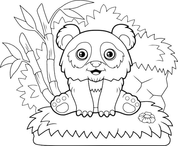 Schattige panda illustratie Premium Vector