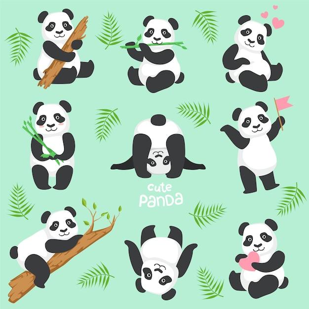 Schattige panda karakter in verschillende situaties instellen Premium Vector