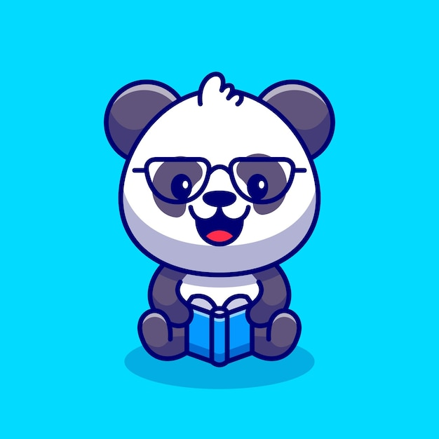 Schattige panda leesboek cartoon pictogram illustratie. Gratis Vector