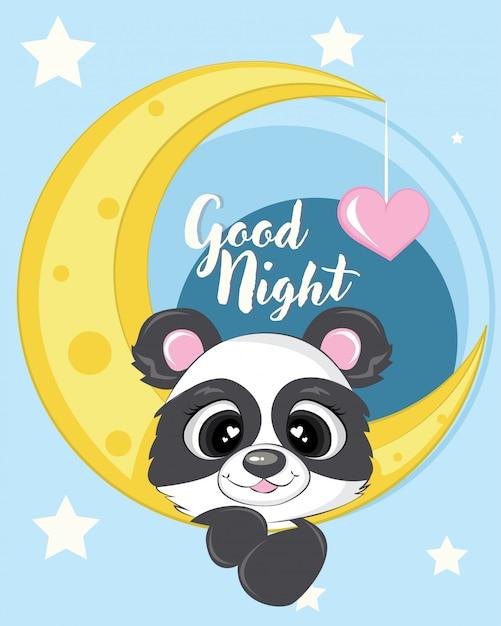 Schattige panda met maan illustratie met liefde en ster Premium Vector