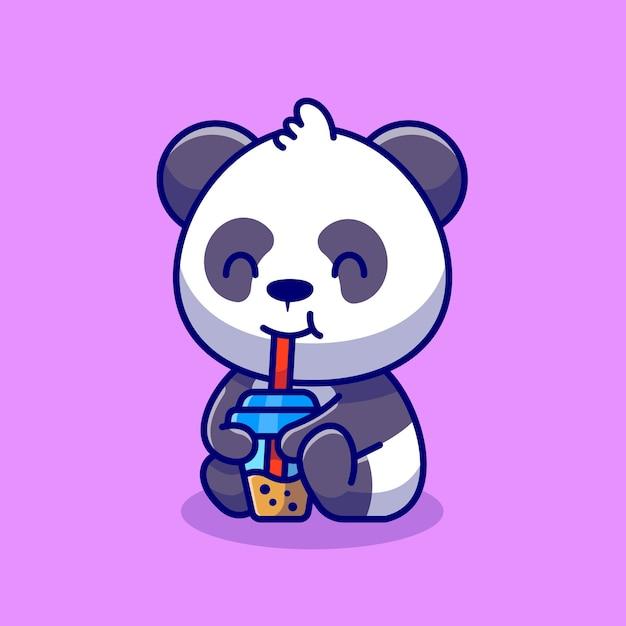Schattige panda nippen boba melkthee cartoon pictogram illustratie dier drinken pictogram concept Premium Vector