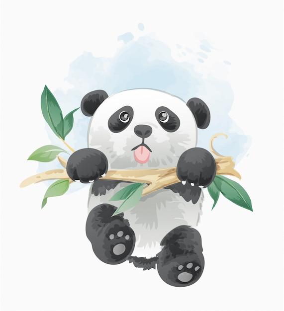 Schattige panda opknoping op boomtak illustratie Premium Vector