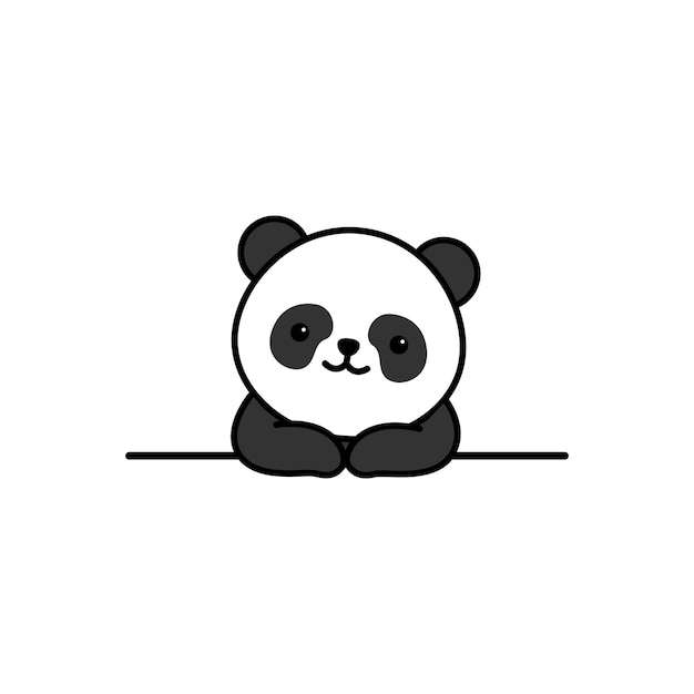 Schattige panda over muur cartoon Premium Vector