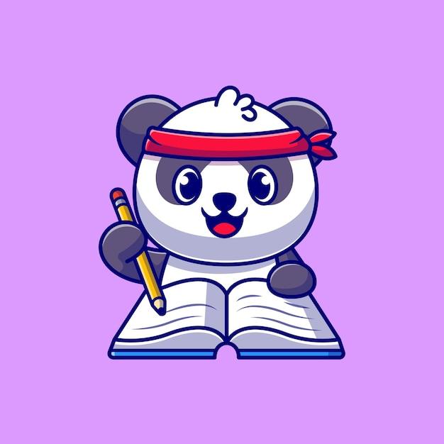 Schattige panda schrijven op boek met potlood cartoon pictogram illustratie. Gratis Vector
