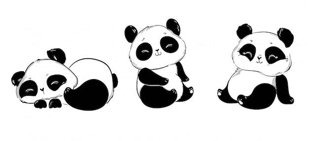 Schattige panda set. illustratie. kinderen bedrukken t-shirt. Premium Vector