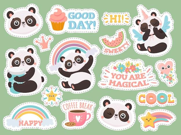 Schattige panda stickers. Premium Vector