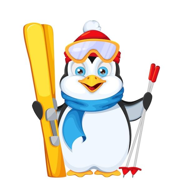 Schattige pinguïn met ski's. vrolijk kerstfeest en een gelukkig nieuwjaar Premium Vector