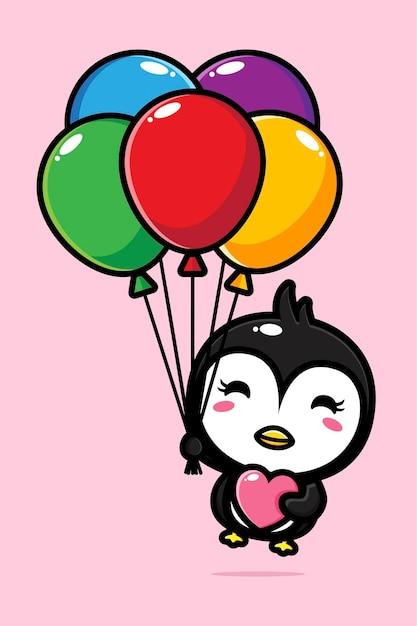 Schattige pinguïn vliegen met kleurrijke ballonnen Premium Vector