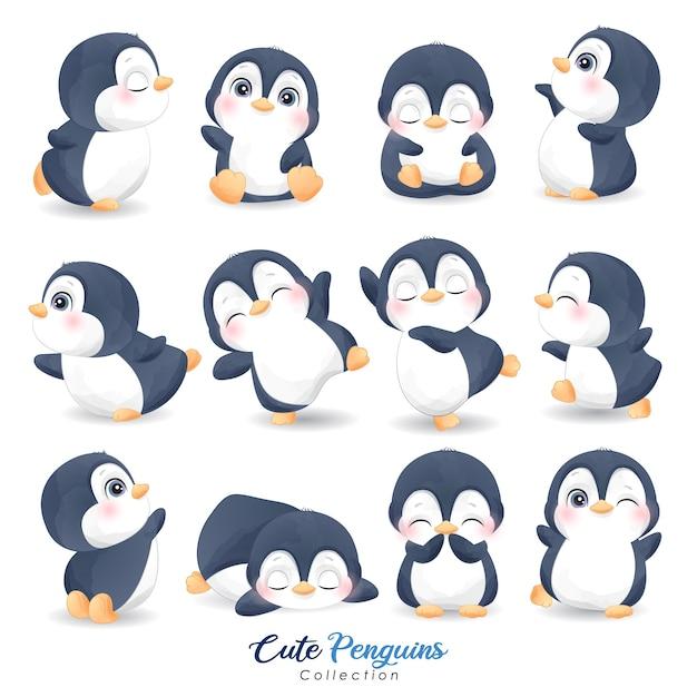 Schattige pinguïns ingesteld voor kerstdag met aquarel illustratie Premium Vector