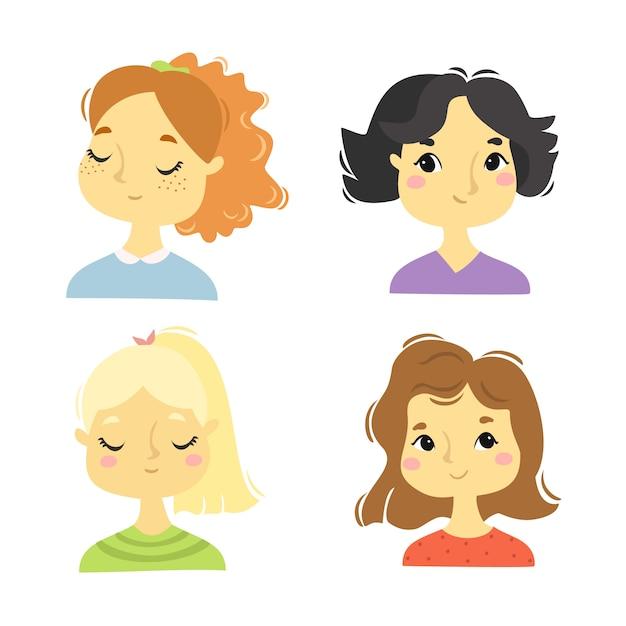 Schattige portretten van meisjes Gratis Vector