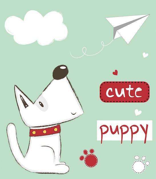 Schattige puppy illustratie Premium Vector