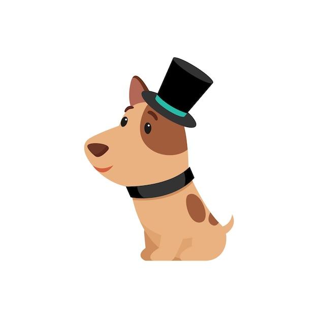Schattige puppy in ouderwetse kostuum stripfiguur Gratis Vector