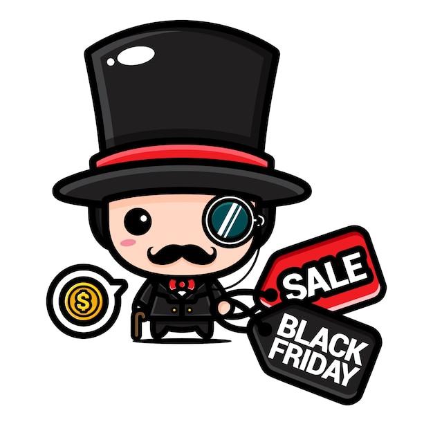Schattige rijke jongen met zwarte vrijdag kortingsbon Premium Vector