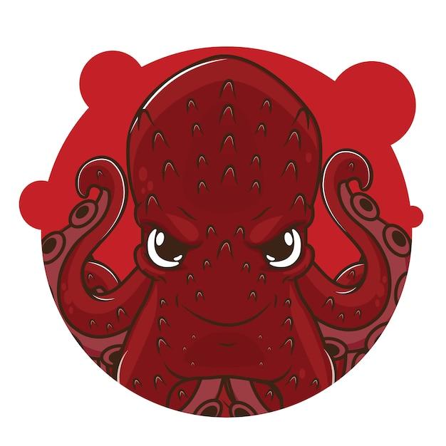 Schattige rode octopus avatar Premium Vector