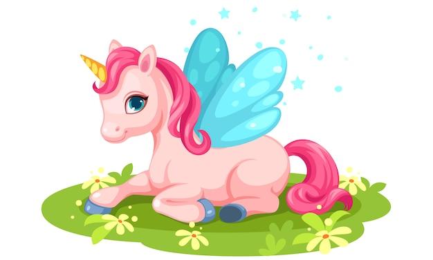Schattige roze baby eenhoorn karakter Gratis Vector
