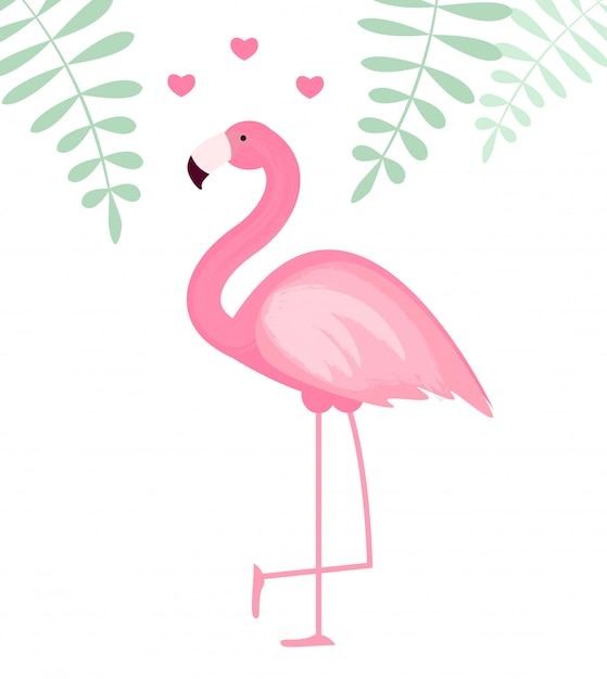 Schattige roze flamingo pictogram illustratie Premium Vector