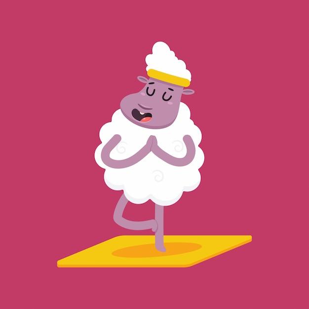 Schattige schapen in yoga pose. grappige vector lam stripfiguur geïsoleerd Premium Vector