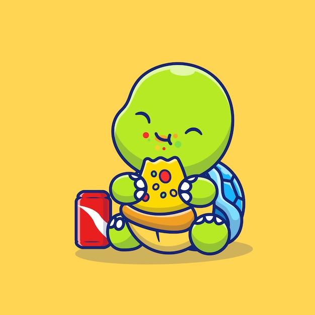 Schattige schildpad pizza eten met soda cartoon pictogram illustratie. animal food icon concept geïsoleerd premium. platte cartoon stijl Premium Vector