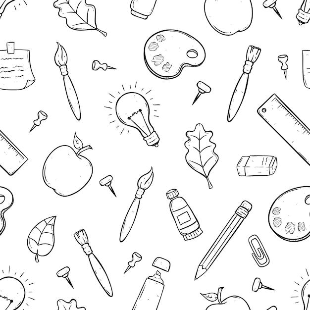 Schattige schoolbenodigdheden of items in naadloos patroon met behulp van doodle kunst Premium Vector