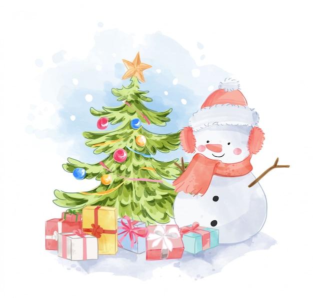 Schattige sneeuwpop met cadeautjes en kerstboom Premium Vector