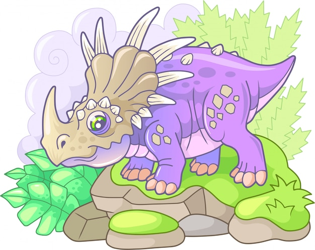 Schattige styracosaurus Premium Vector
