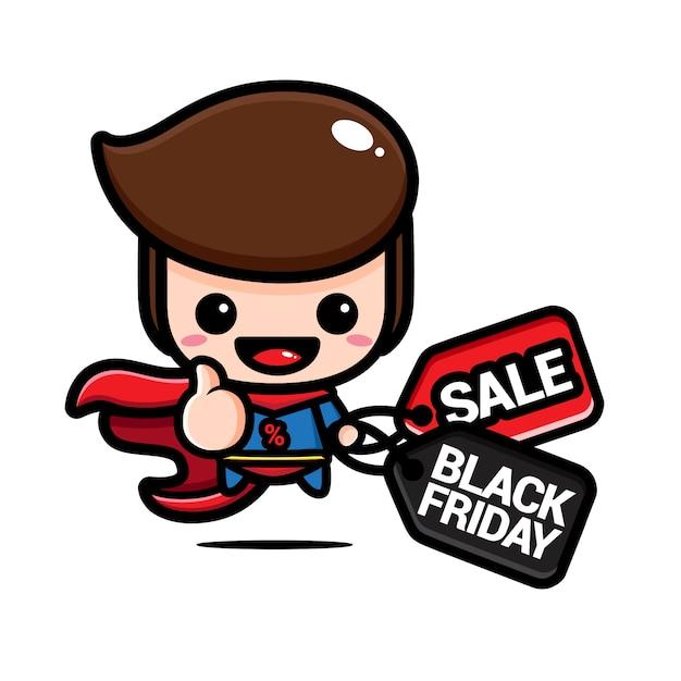 Schattige superheld met een kortingsbon voor zwarte vrijdag Premium Vector