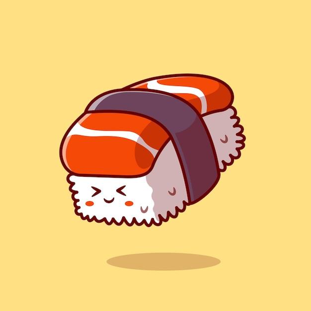 Schattige sushi zalm cartoon vectorillustratie pictogram. voedsel karakter pictogram concept. platte cartoon stijl Gratis Vector