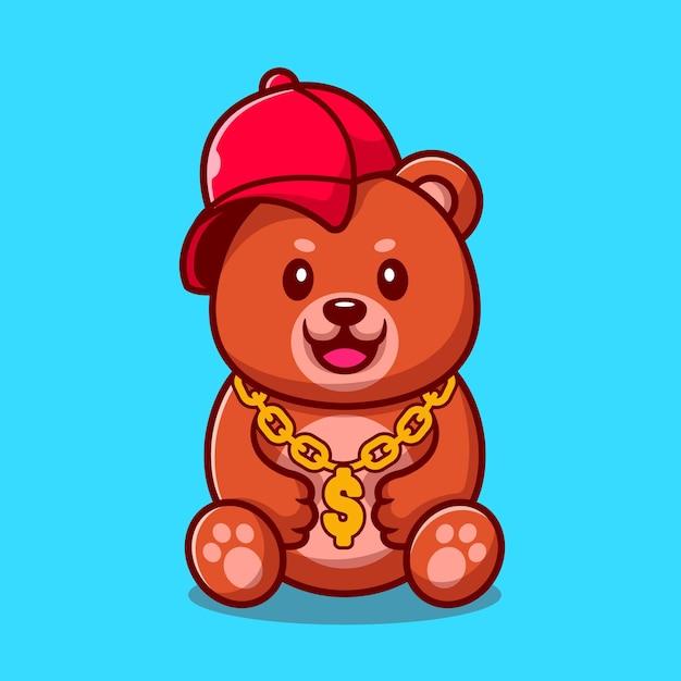 Schattige swag beer met hoed en gouden ketting ketting cartoon afbeelding. animal fashion concept geïsoleerd. platte cartoon stijl Premium Vector