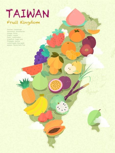 Schattige taiwan fruit kgdom kaart Premium Vector