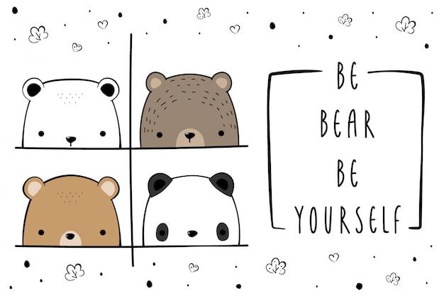 Schattige teddybeer panda familie cartoon doodle cover element Premium Vector