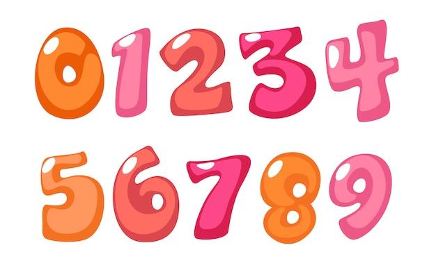 Schattige vetgedrukte lettertypenummers in roze kleur voor kinderen Premium Vector