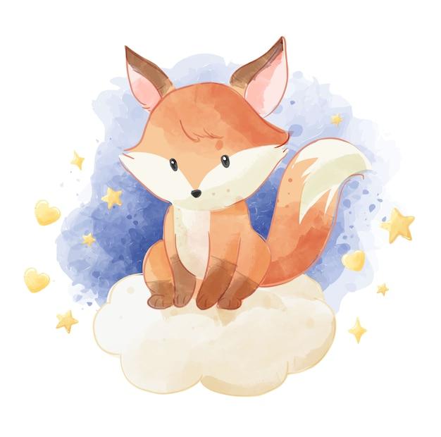 Schattige vos zittend op de wolk met sterren Premium Vector
