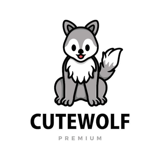 Schattige wolf cartoon logo pictogram illustratie Premium Vector