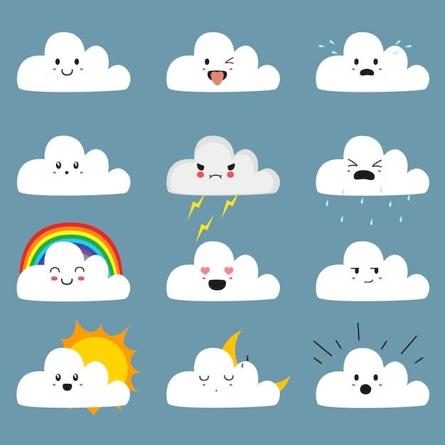 Schattige wolken emoji set met schattige gezichten Premium Vector