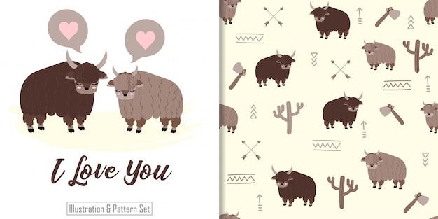Schattige yak dierlijke naadloze patroon met hand getrokken illustratie kaartenset Premium Vector
