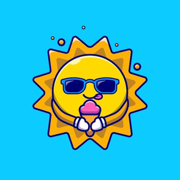Schattige zon bril eten van ijs cartoon afbeelding. Gratis Vector