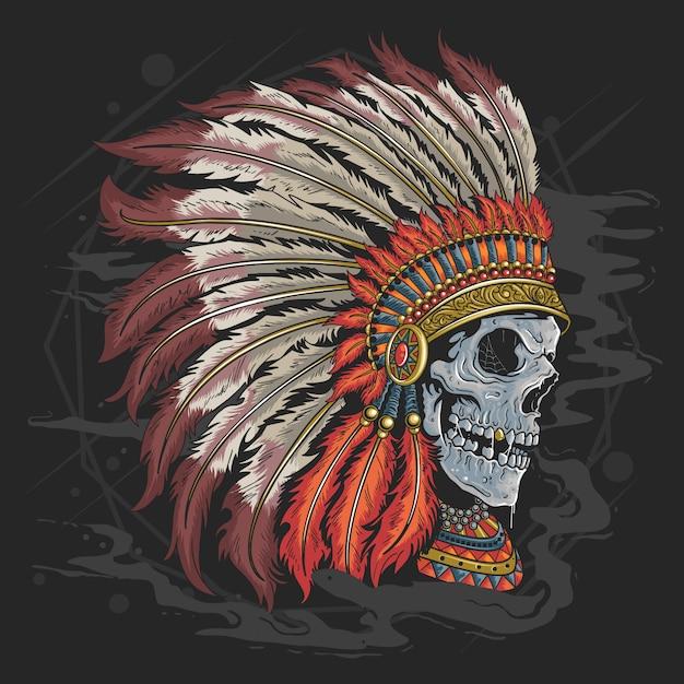 Schedel apache amerikaanse indische hoofd tattoo kunstwerk met bewerkbare lagen Premium Vector
