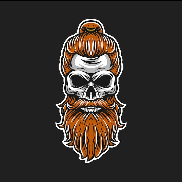 Schedel baard logo Premium Vector