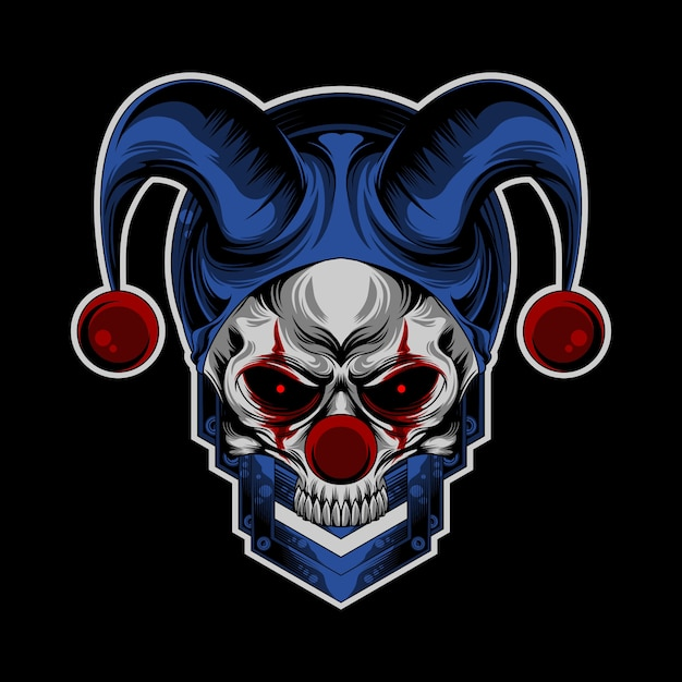Schedel clown logo Premium Vector