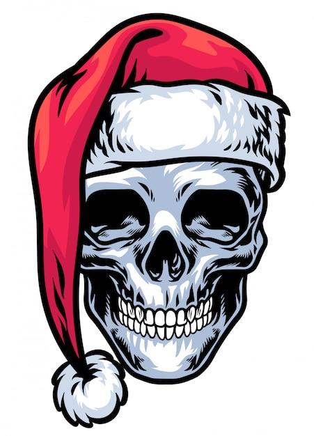 Schedel die de hoed van de kerstman draagt Premium Vector