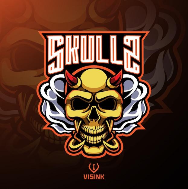 Schedel duivel mascotte logo ontwerp Premium Vector