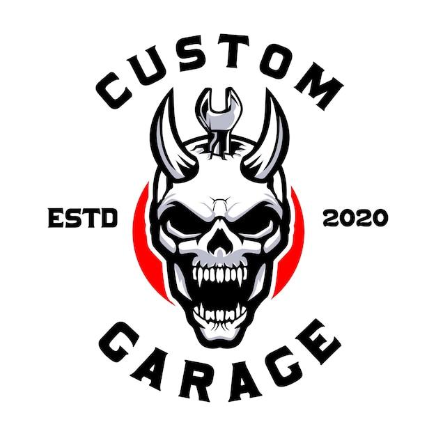 Schedel duivel met moersleutel aangepaste garage Premium Vector