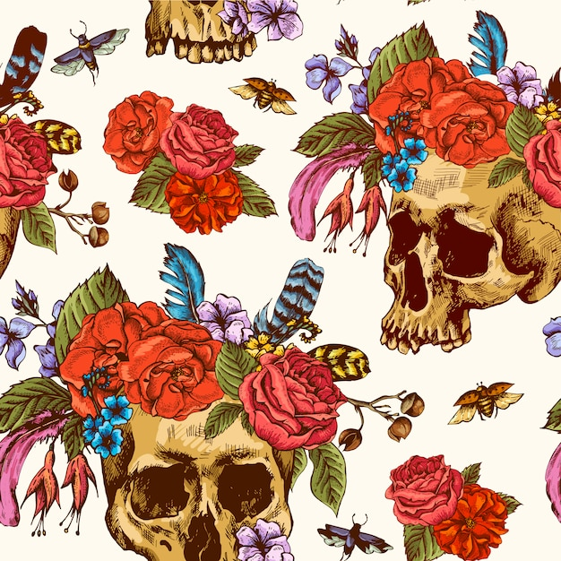 Schedel en bloemen dag van de dode naadloze patroon Premium Vector