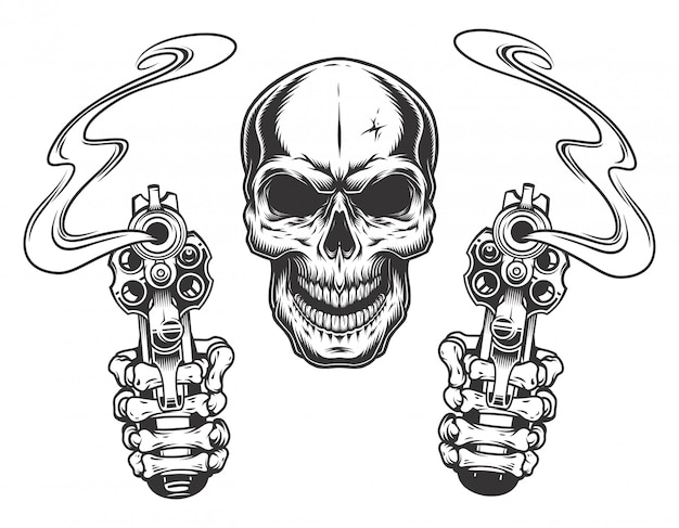 Schedel gericht met twee revolvers Gratis Vector