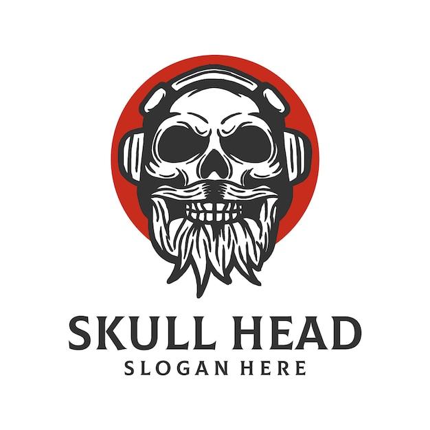 Schedel hoofd logo sjabloon Premium Vector