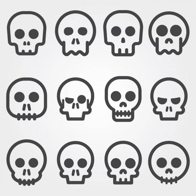 Schedel iconen collectie Gratis Vector