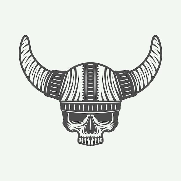 Schedel in viking roer Premium Vector
