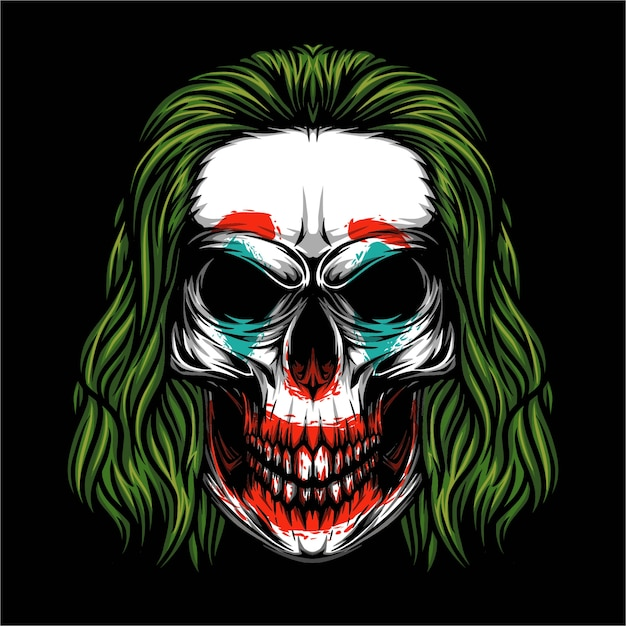 Schedel joker illustratie Premium Vector