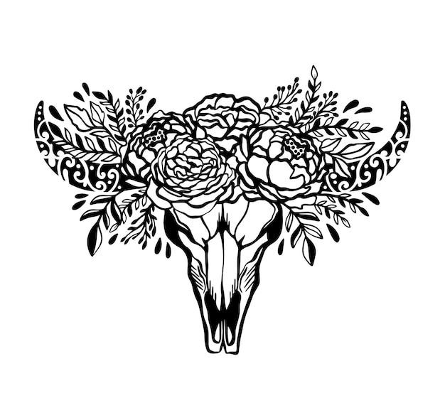 Schedel koe bloem bloemen roos illustratie concept Premium Vector