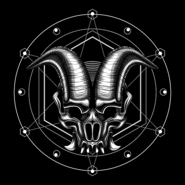 Schedel kwaad duivel hoorn vectorillustratie Premium Vector